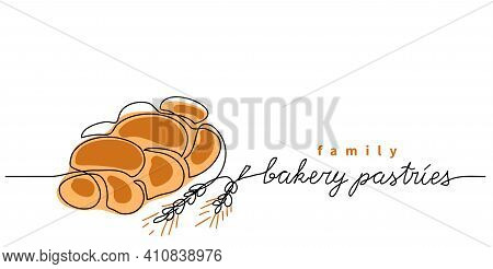 Bakery Pastries Vector Sign, Banner, Poster, Background. One Continuous Line Drawing Of Bun Bread Wi