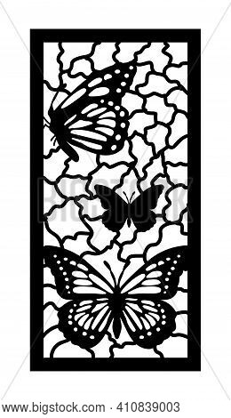 Cnc Pattern With Butterfly. Decorative Panel, Screen, Wall. Vector Butterfly Cnc Panel For Laser Cut