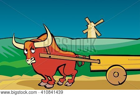 Angry Bull Drags The Cart Along The Road.