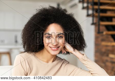 Portrait Headshot Of Young Pretty African American Ethnic Woman Female Freelancer With Afro Curly Ha