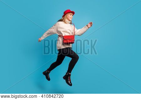 Full Length Body Size Side Profile Photo Model In Red Hat Jumping High Running On Sale Isolated Vivi