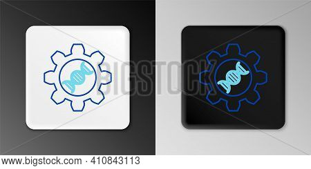 Line Genetic Engineering Icon Isolated On Grey Background. Dna Analysis, Genetics Testing, Cloning,