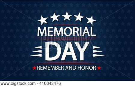 Blue Patriotic Memorial Day Background, Vector Art Illustration.