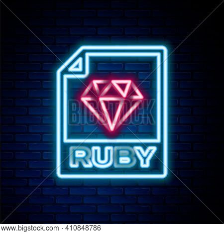 Glowing Neon Line Ruby File Document. Download Ruby Button Icon Isolated On Brick Wall Background. R