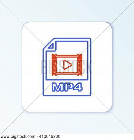 Line Mp4 File Document. Download Mp4 Button Icon Isolated On White Background. Mp4 File Symbol. Colo