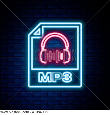 Glowing Neon Line Mp3 File Document. Download Mp3 Button Icon Isolated On Brick Wall Background. Mp3