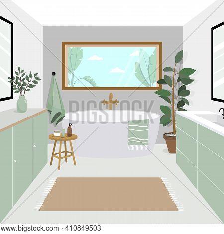 Modern Bathroom In Beautiful Style On White Background. Bathroom With Ocean Views, Beautiful Furnitu
