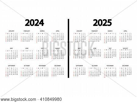 Calendar 2024, 2025 Year. The Week Starts On Sunday. Annual Calendar Template. Yearly English Calend