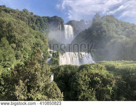 Italian Waterfalls In Umbria Region Marmore Falls