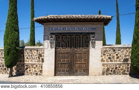 Toledo, Spain, July 2020 - Entrance Gate To The Grounds Of The Saint Angel Mansion In Toledo, Spain
