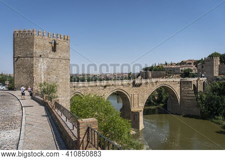 Toledo, Spain, July 2020 - View Of Saint Martin Bridge Over The River Tagus, In The City Of Toledo,