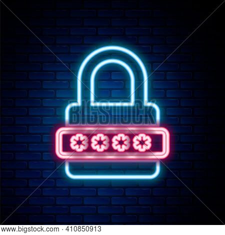 Glowing Neon Line Password Protection And Safety Access Icon Isolated On Brick Wall Background. Lock