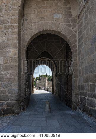 Toledo, Spain, July 2020 - Bridge Of Saint Martin And City Gate In The City Of Toledo, Spain