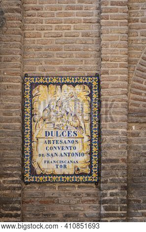 Toledo, Spain, July 2020 - Sign On The Convent Wall In The City Of Toledo, Spain