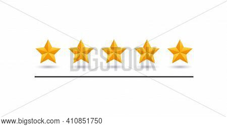 5 Star Review. Five Gold Stars Icon - Service Rate Or Quality Feedback Sign. Flat Style Vector Illus