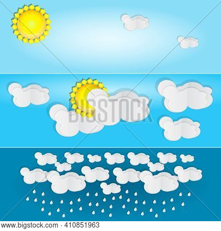 Different Types Of Weather. Day And Summer Banner. Horizontal Posters Set With Paper Clouds For Weat