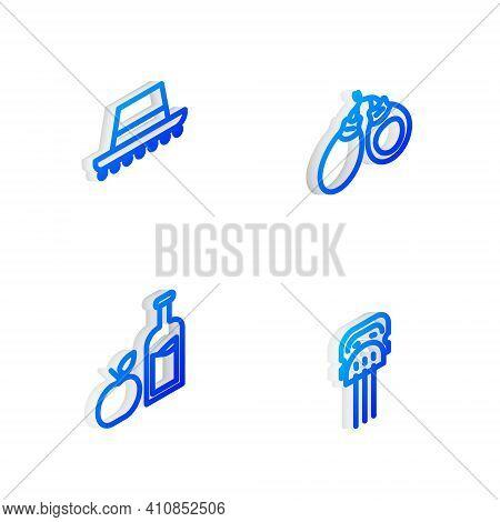 Set Isometric Line Castanets, Spanish Hat, Apple Cider Bottle And Peineta Icon. Vector
