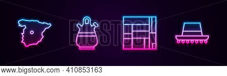 Set Line Map Of Spain, Sangria Pitcher, House Edificio Mirador And Spanish Hat. Glowing Neon Icon. V