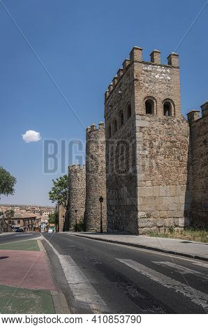 Toledo, Spain, July 2020 - Ancient City Walls In The City Of Toledo, Spain