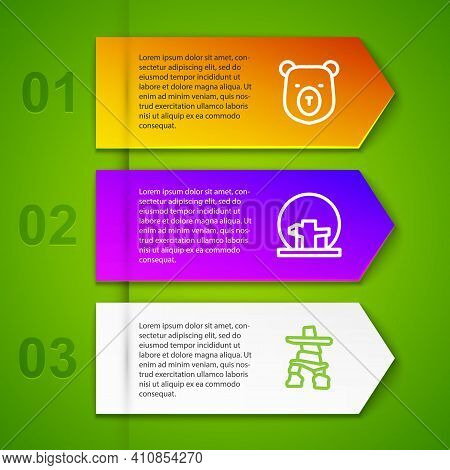 Set Line Bear Head, Montreal Biosphere, Inukshuk And Ferris Wheel. Business Infographic Template. Ve