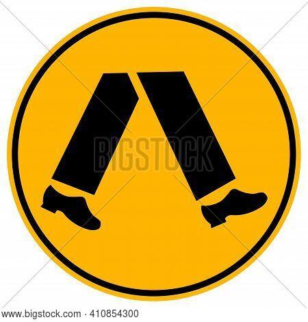 Pedestrians Round Yellow Sign On White Background