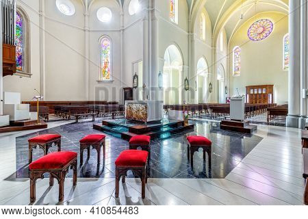 ALBA, ITALY - JUNE 23, 2020: Interior view of Divin Maestro - a roman catholic parish church recently renovated, located in small town of Alba in Piedmont, Northern Italy.