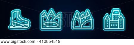 Set Line Skates, Canadian Lake, Mountains And Chateau Frontenac Hotel. Glowing Neon Icon. Vector