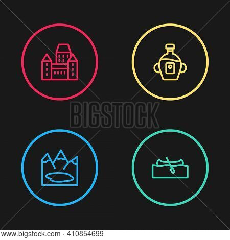 Set Line Canadian Lake, Kayak Or Canoe, Maple Syrup And Chateau Frontenac Hotel Icon. Vector