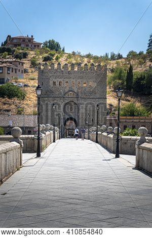 Toledo, Spain, July 2020 - Saint Martin Bridge In The City Of Toledo, Spain
