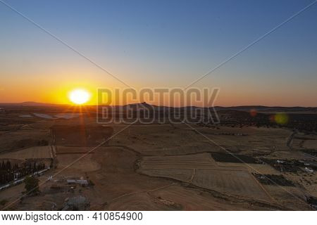 Sunset From The Mountain Of An Andalusian Village In Southern Spain