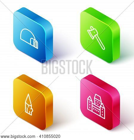 Set Isometric Line Igloo Ice House, Wooden Axe, Log And Chateau Frontenac Hotel Icon. Vector