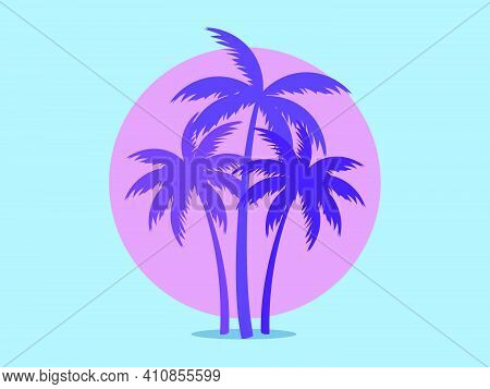 Palm Trees Against A Pink Sun In The Style Of The 80s. Synthwave And 80s Style Retrowave. Design For