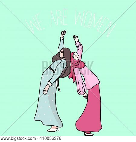 Two Women Standing Together And Pose. Cartoon Characters Vector Illustration Of Women's Friendship O