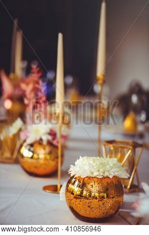 Restaurant Table Setout With White Plates And Silverware