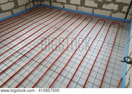 Installation Of A Heat-insulated Floor, Installation Of Water Pipes, Modern Technology Of Heating Of