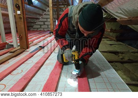 Fixation And Warming Of The Attic, Fixation Of The Waterproofing Film On The Attic With The Help Of