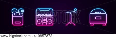 Set Line Air Headphones In Box, Home Stereo With Speakers, Microphone Stand And Stereo. Glowing Neon