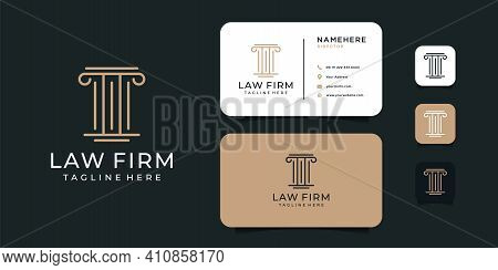 Creative Law Firm Logo Design With Business Card Template. Logo Can Be Used For Icon, Brand, Identit