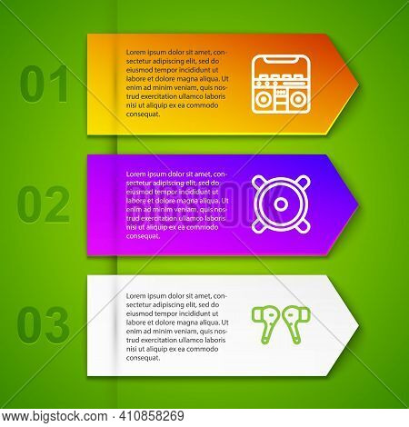 Set Line Home Stereo With Speakers, Stereo And Air Headphones. Business Infographic Template. Vector