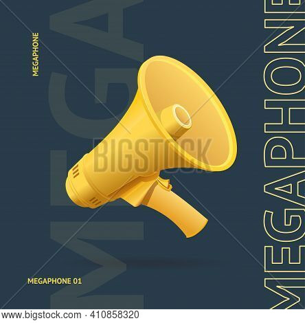 Realistic Detailed 3d Megaphone Advertising Concept Banner Card On A Black Symbol Of Warning And Att