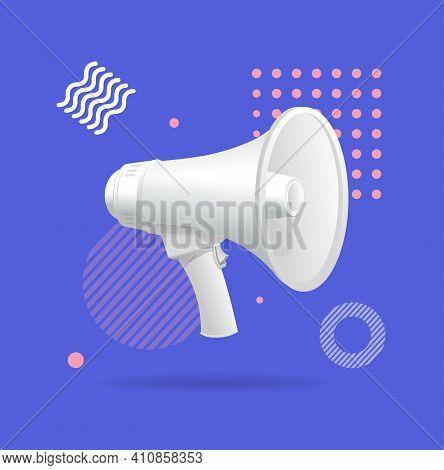 Realistic Detailed 3d Megaphone Advertising Marketing Promotion Concept Banner Card Speakerphone For