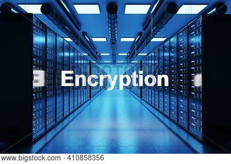Encryption Logo In Large Modern Data Center With Rows Of Network Internet Server Racks, 3d Illustrat