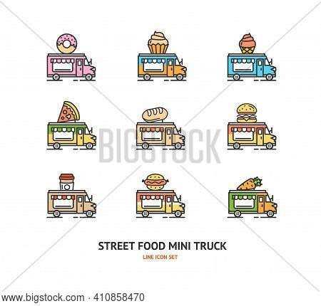 Street Food Truck Sign Color Thin Line Icon Set Include Of Ice Cream And Pizza. Vector Illustration