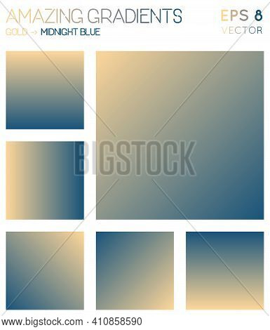 Colorful Gradients In Gold, Midnight Blue Color Tones. Admirable Background, Mesmeric Vector Illustr