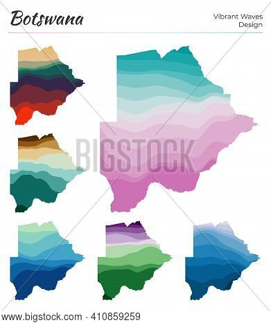 Set Of Vector Maps Of Botswana. Vibrant Waves Design. Bright Map Of Country In Geometric Smooth Curv