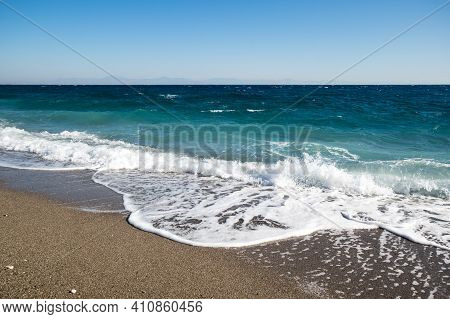 The Coast Of Mediterranean Sea In Kemer, Seaside Resort And District Of Antalya Province On The Medi
