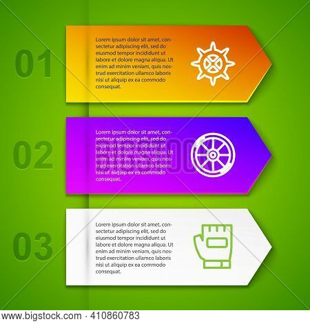 Set Line Bicycle Sprocket Crank, Wheel And Gloves. Business Infographic Template. Vector