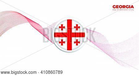 Georgia Day Of National Unity Design With White Background. Emblem Of Georgia Flag Design. Good Temp