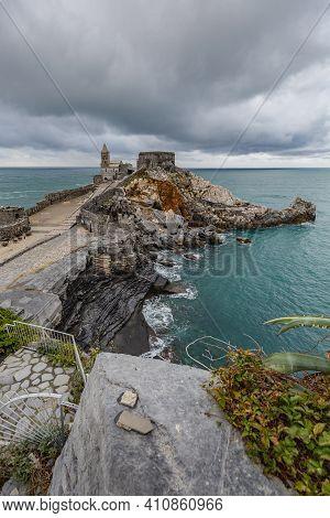 Portovenere (porto Venere) In Liguria, Italy: Beautiful Aerial Scenic View Of The Church Of St. Pete