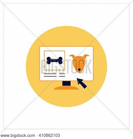 Pets Food Delivery Flat Icon. Veterinary Shop. Online Shopping. Vet Products. Fast Delivery. Interne